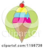 Cartoon Of A Cherry Topped Triple Scoop Waffle Ice Cream Cone Over A Green Circle Royalty Free Vector Clipart