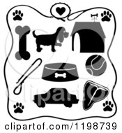 Clipart Of A Black And White Leash Frame Around Silhouetted Dog Items Royalty Free Vector Illustration