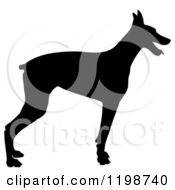 Clipart Of A Black Silhouetted Doberman Pinscher Dog In Profile Royalty Free Vector Illustration