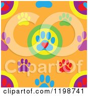 Seamless Pattern Of Colorful Dog Paw Prints And Hearts Over Orange