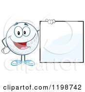 Happy Golf Ball Character By A Sign by Hit Toon
