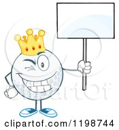 Winking Crowned Golf Ball Character Holding A Sign 2 by Hit Toon