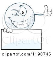 Winking Golf Ball Character Holding A Thumb Up Over A Sign by Hit Toon