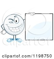 Winking Golf Ball Character By A Sign by Hit Toon