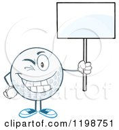 Cartoon Of A Winking Golf Ball Character Holding A Sign Royalty Free Vector Clipart