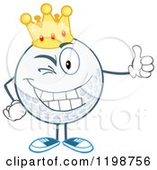 Winking Crowned Golf Ball Character Holding A Thumb Up by Hit Toon