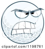 Cartoon Of A Mad Golf Ball Character Royalty Free Vector Clipart by Hit Toon