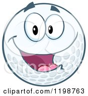 Cartoon Of A Happy Golf Ball Character Royalty Free Vector Clipart by Hit Toon