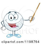 Happy Golf Ball Character Holding A Pointer Stick by Hit Toon