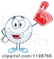 Golf Ball Character Wearing A Number 1 Foam Finger by Hit Toon