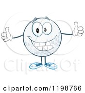 Cartoon Of A Happy Golf Ball Character Holding Two Thumbs Up Royalty Free Vector Clipart