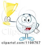 Cartoon Of A Victorious Golf Ball Character Holding A Trophy Royalty Free Vector Clipart by Hit Toon