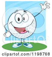 Cartoon Of A Happy Waving Golf Ball Character Over Blue And Green Royalty Free Vector Clipart