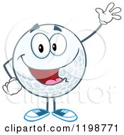 Happy Waving Golf Ball Character by Hit Toon