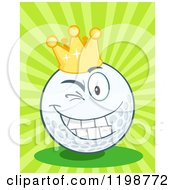 Cartoon Of A Winking Crowned Golf Ball Character Over Green Rays Royalty Free Vector Clipart