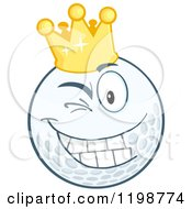 Cartoon Of A Winking Crowned Golf Ball Character Royalty Free Vector Clipart