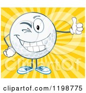 Cartoon Of A Winking Golf Ball Character Holding A Thumb Up Over Rays Royalty Free Vector Clipart