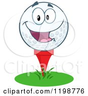 Cartoon Of A Happy Golf Ball Character On A Tee Royalty Free Vector Clipart