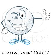 Winking Golf Ball Character Holding A Thumb Up by Hit Toon