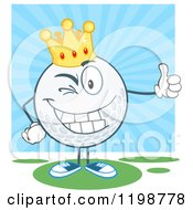 Cartoon Of A Winking Crowned Golf Ball Character Holding A Thumb Up Over Blue And Green Royalty Free Vector Clipart