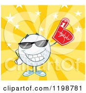 Cartoon Of A Golf Ball Character Wearing Sunglasses And A Number 1 Foam Finger Over Stars And Rays Royalty Free Vector Clipart