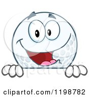 Happy Golf Ball Character Over A Sign by Hit Toon
