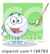 Cartoon Of A Happy Golf Ball Character Holding A Pointer Stick Over Green Royalty Free Vector Clipart