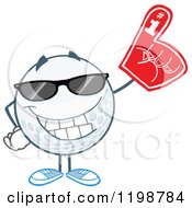 Golf Ball Character Wearing Sunglasses And A Number 1 Foam Finger by Hit Toon