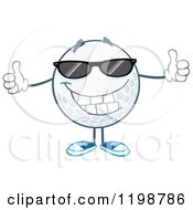 Cartoon Of A Happy Golf Ball Character Wearing Sunglasses And Holding Two Thumbs Up Royalty Free Vector Clipart