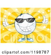 Cartoon Of A Happy Golf Ball Character Wearing Sunglasses And Holding Two Thumbs Up Over Stars And Rays Royalty Free Vector Clipart