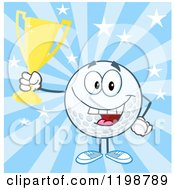 Cartoon Of A Victorious Golf Ball Character Holding A Trophy Over Blue Rays Royalty Free Vector Clipart