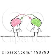 Clipart Of Happy Stick Men With Connected Brains Sharing Information Royalty Free Vector Illustration by NL shop