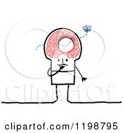 Clipart Of A Stick Man With A Butterfly Flying Through A Hole In His Brain Royalty Free Vector Illustration