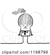 Clipart Of A Grumpy Stick Businessman With Clouds Over His Brain Royalty Free Vector Illustration by NL shop