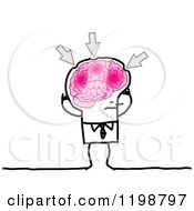 Clipart Of A Stick Businessman With Arrows Pointing To Aches In His Brain Royalty Free Vector Illustration by NL shop
