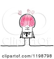 Clipart Of A Stick Man With An Over Heating Brain Royalty Free Vector Illustration by NL shop