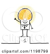 Proud Stick Man on a First Place Platform, with a Glowing Brain