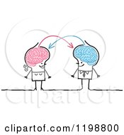 Clipart Of A Happy Stick Couple With Connected Brains Sharing Information Royalty Free Vector Illustration by NL shop