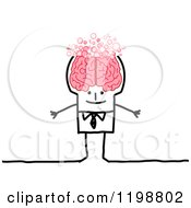 Clipart Of A Happy Stick Man With A Bubbly Brain Royalty Free Vector Illustration