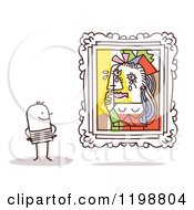Clipart Of A Stick Man Viewing The Weeping Woman Picasso Masterpiece In An Art Gallery Royalty Free Vector Illustration by NL shop