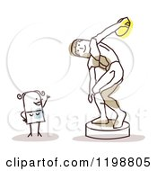 Clipart Of A Happy Stick Woman At The Discus Thrower Statue Royalty Free Vector Illustration by NL shop
