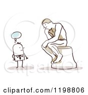 Clipart Of A Stick Man Gazing At The Thinker Statue Royalty Free Vector Illustration by NL shop