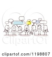 Clipart Of A Group Of Business Stick People Networking And Talking Royalty Free Vector Illustration