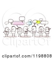 Clipart Of A Group Of Friendly Stick People Networking And Talking Royalty Free Vector Illustration by NL shop