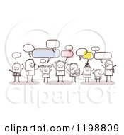 Clipart Of A Group Of Young Stick People Networking And Talking Royalty Free Vector Illustration