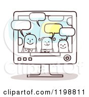 Clipart Of A Happy Stick Family Talking Through A Computer Royalty Free Vector Illustration