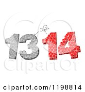 Clipart Of A Stick Businessman Jumping Over Crowds Forming 13 And 14 Royalty Free Vector Illustration