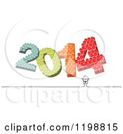 Clipart Of A Happy Stick Man Under Crowds Of Colorful People Forming Year 2014 Royalty Free Vector Illustration