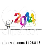 Stick Man Painting A Colorful New Year 2014 3