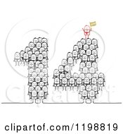 Clipart Of A Red Stick Man Boss On Top Of Crowds Forming 14 For The New Year Royalty Free Vector Illustration